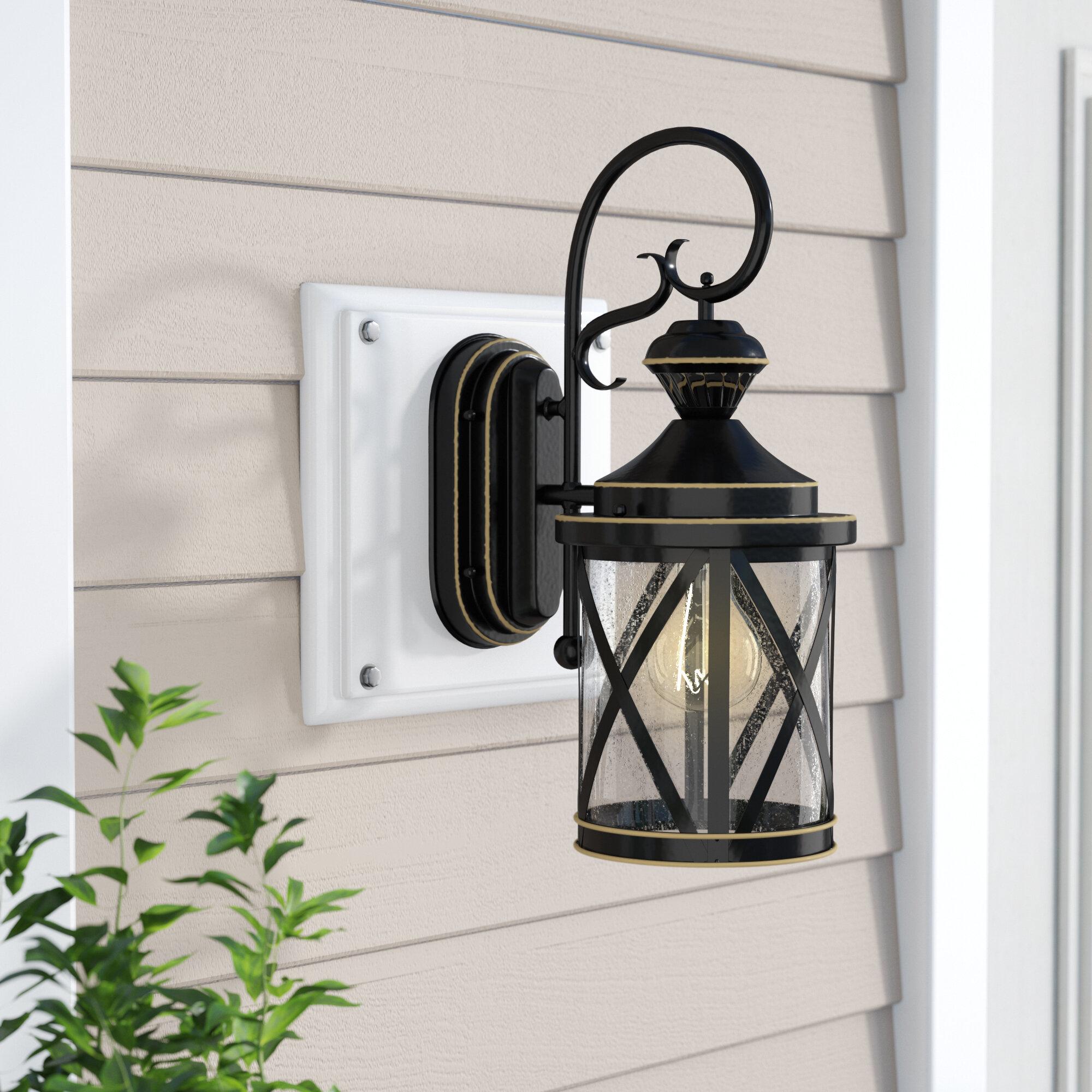 Charlton Home Vidrio Black Gold Outdoor Wall Lantern With Motion Sensor Reviews Wayfair