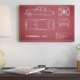 'Jaguar Mark VII' Graphic Art Print on Canvas in Maroon By East Urban Home