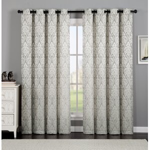 Burns Ikat Semi Sheer Grommet Single Curtain Panel