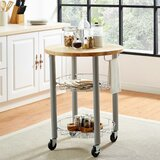 Amol Kitchen Cart with Solid Wood Top by Red Barrel Studio®