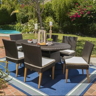 Latitude Run Saurabh Contemporary Outdoor 7 Piece Dining Set with Cushions
