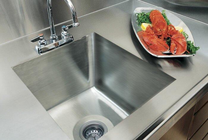 """A-Line by Advance Tabco 20"""" L x 16"""" W Integral Single Bowl Kitchen Sink"""