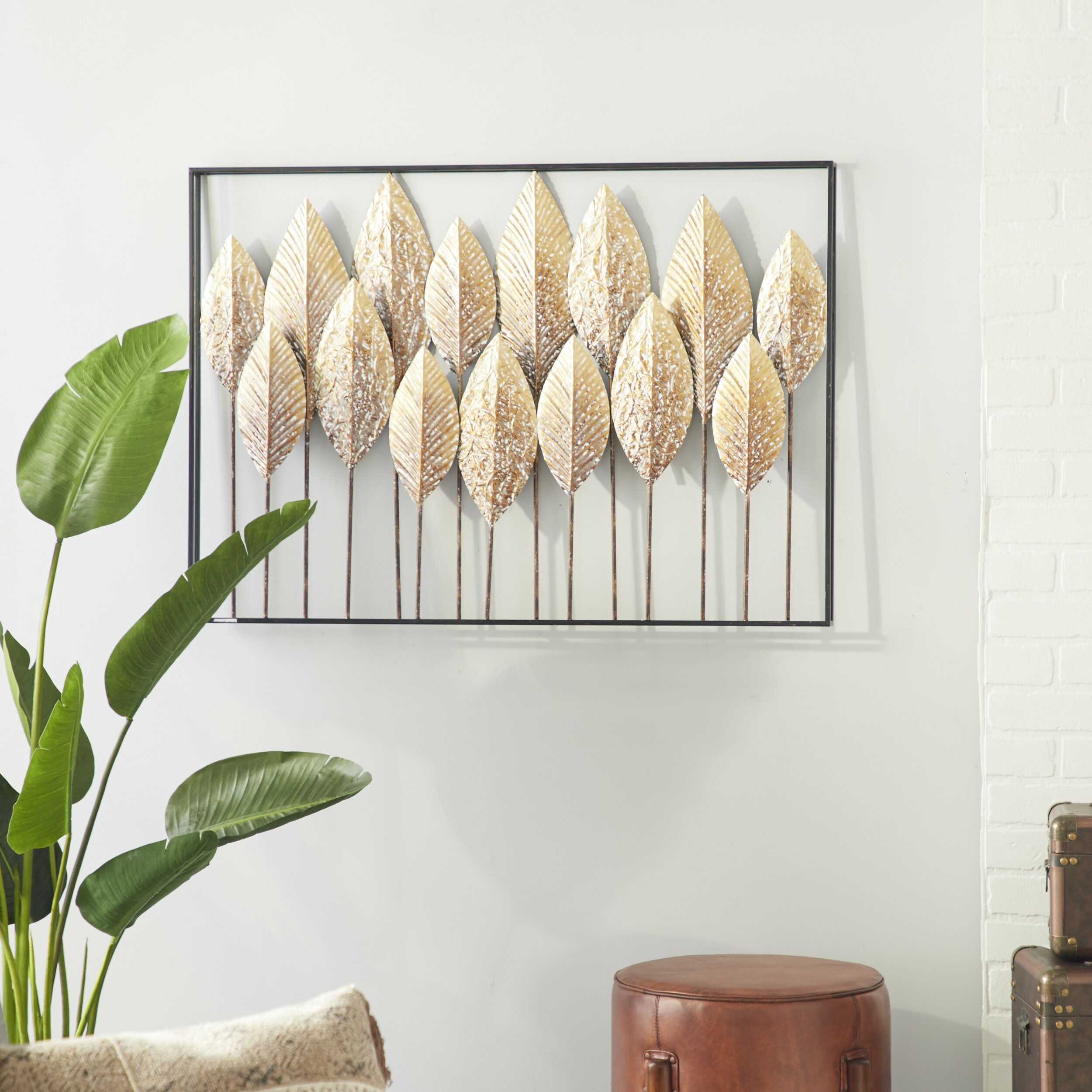 Rectangular Washed Leaves Metal Wall Décor