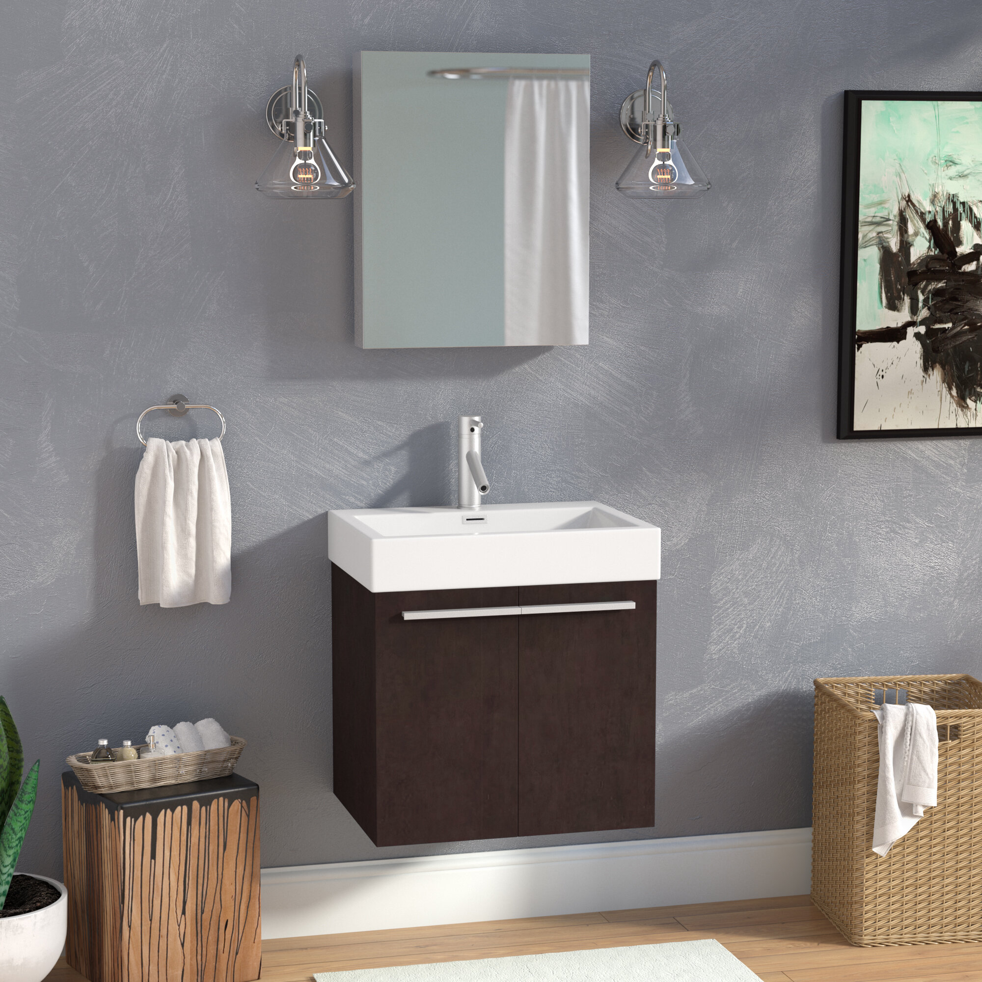 Brayden Studio Frausto 23 Wall Mounted Single Bathroom Vanity Set