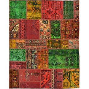 Sela Vintage Persian Hand Woven Wool Rectangle Red Patchwork Area Rug