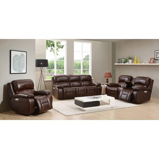 HYDELINE Westminster II Reclining Leather 3 Piece Living Room