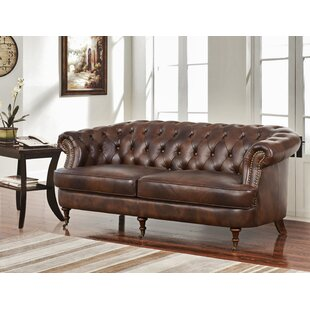 Mccarville Leather Chesterfield Sofa