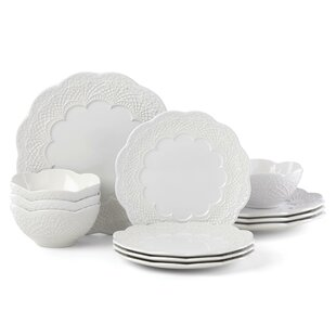 Chelse Muse Scallop 12 Piece Dinnerware Set, Service for 4