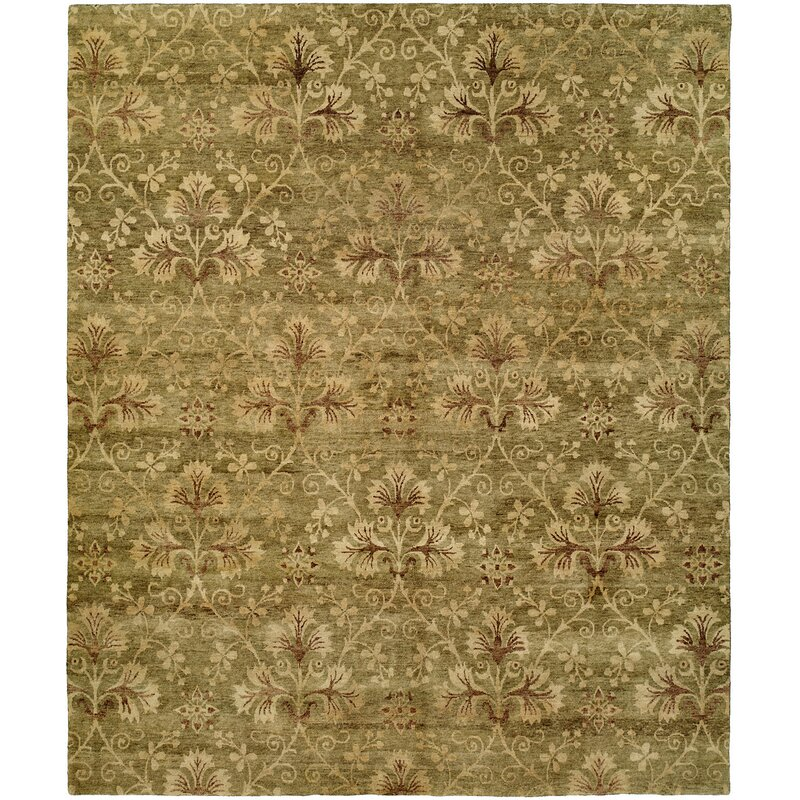 Meridian Rugmakers Anthony Floral Hand Knotted Wool Green Area Rug Wayfair