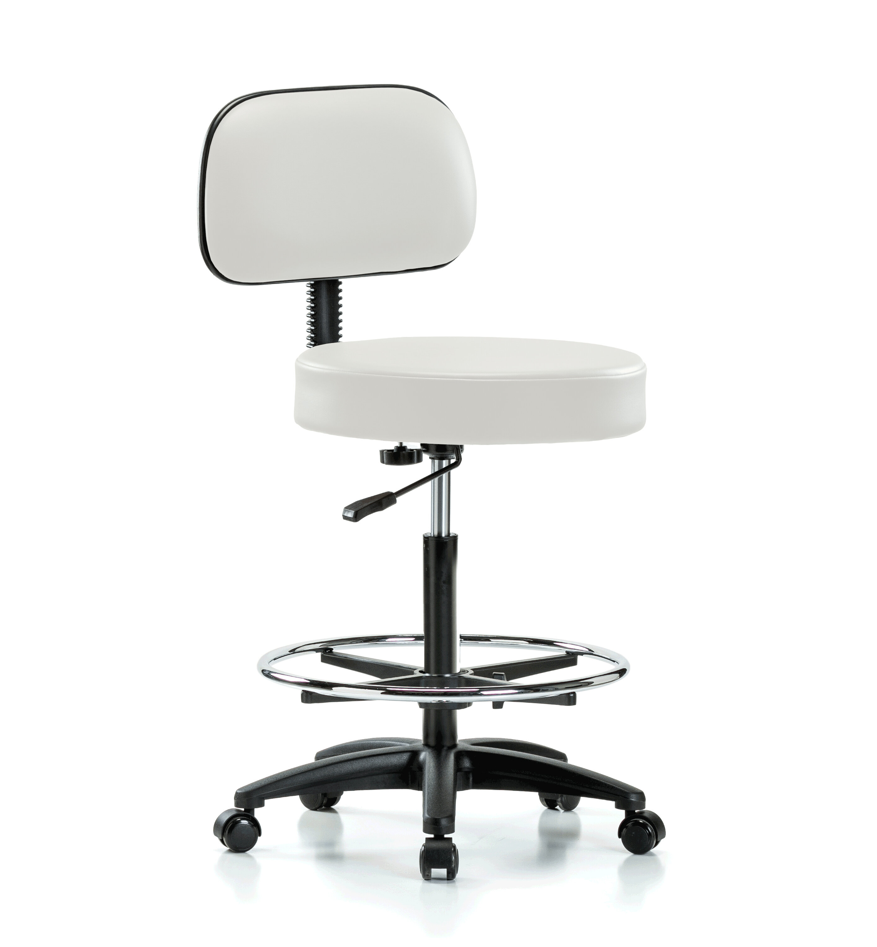 Perch Chairs Stools Height Adjustable Exam Stool With Basic Backrest And Foot Ring Wayfair