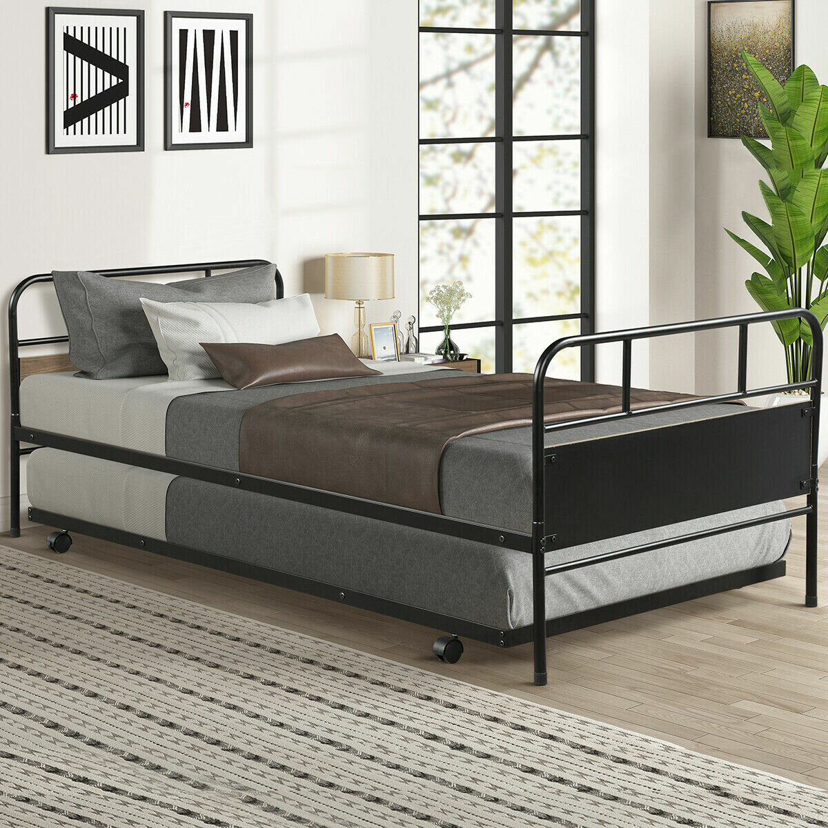 Picture of: Ebern Designs Vershire Twin Bed With Trundle Reviews