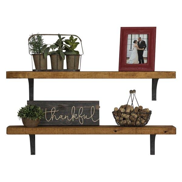 Mahogany finish home office corner shelf Wood Veneer Wayfair Wall Display Shelves Youll Love Wayfair