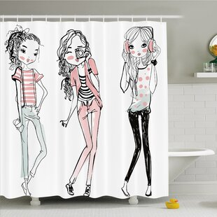 Fashion House Sketch of Cute Cartoon Elegant Girls with Makeup Clothes Image Shower Curtain Set