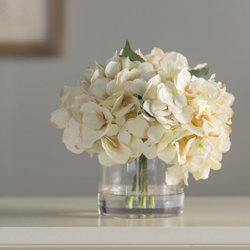 Andover Mills Hydrangea In Water Floral Arrangement In Glass Vase