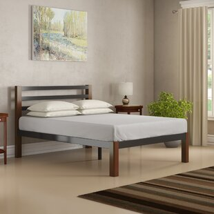 Odysseus Wood Slat and Metal Platform Bed