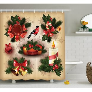 Christmas Vintage Ornaments Shower Curtain + Hooks