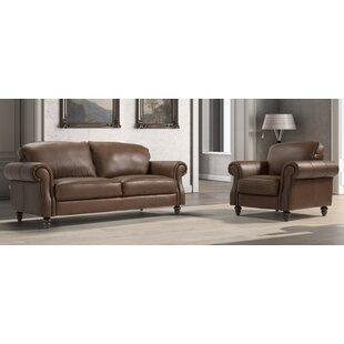 Watford 2 Piece Leather Sofa Set By Rosalind Wheeler