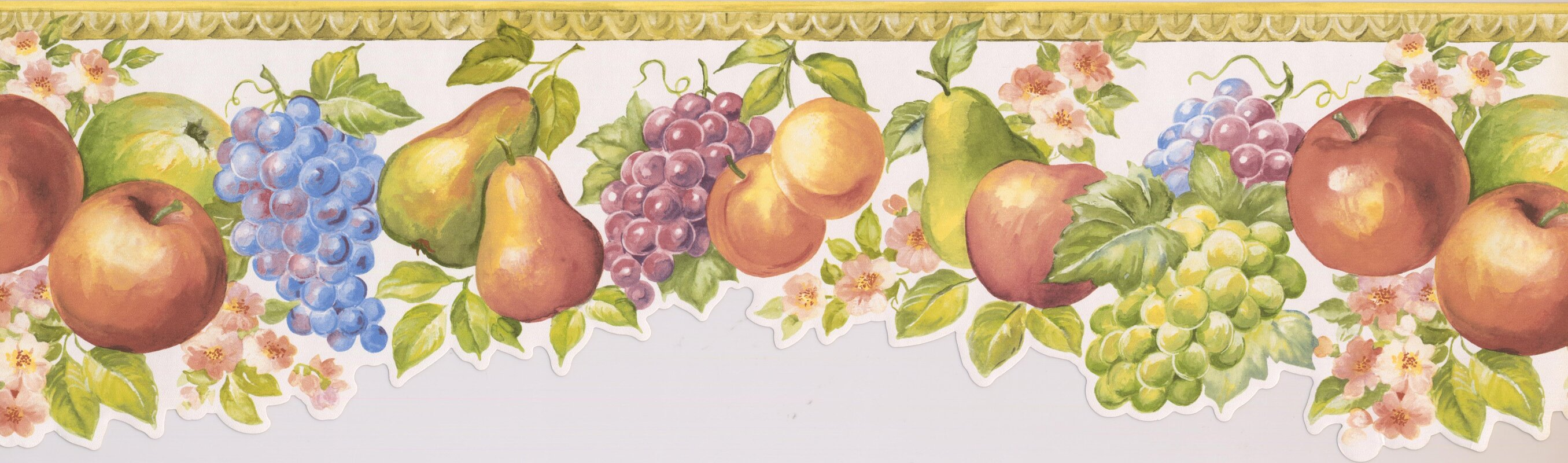 York Wallcoverings 15\' L x 6.75\'\' W Fruits Apple Pear Grapes Peach ...
