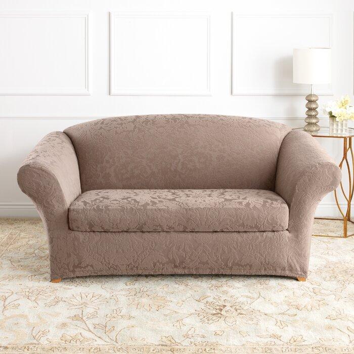 Outstanding Stretch Jacquard Damask Box Cushion Loveseat Slipcover Short Links Chair Design For Home Short Linksinfo