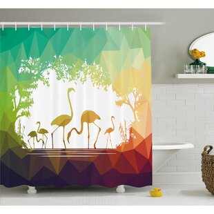 Wildlife Modern Flamingo Figures in Digital Art with Polygonal Featured Shadow Effects Shower Curtain Set