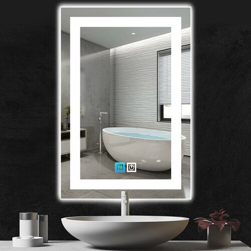 Latitude Run 47 X 32 Lighted Bathroom Mirror Led Wall Mounted Mirror With Touch Dimming Switch Defogger 3 Colours Of Lighting Options Copper Free Large Vanity Mirror Vertical Horizontal Wayfair Ca