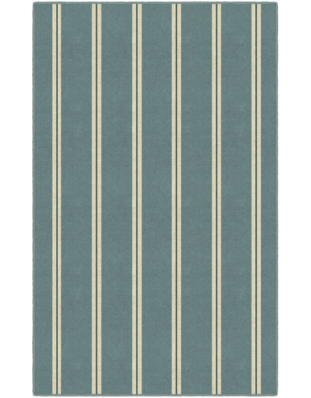 Highland Dunes Lisbeth Traditional Vertical Striped Blue Area Rug, Size: Rectangle 76 x 10