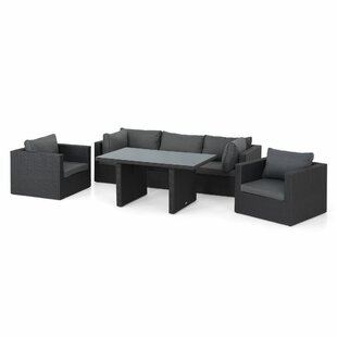 Hiren 5 Seater Rattan Effect Corner Sofa Set Image