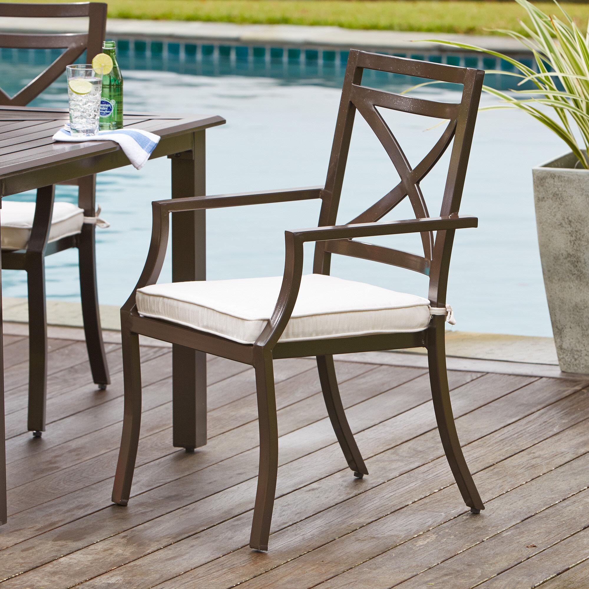 Birch Lane™ Endicott Stacking Patio Dining Chair With Cushion U0026 Reviews |  Birch Lane
