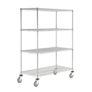 Nexel Wire Stem Caster Truck 4 shelf Shelving Unit
