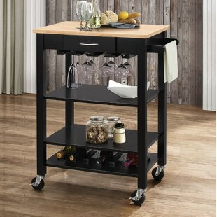 Rodriguez Kitchen Cart with Solid Wood Top Charlton Home