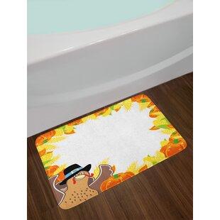 bb8b46d4193f7 Ambesonne Kids Thanksgiving Bath Mat by, Fun Cartoon Drawing Corn and  Pumpkin Rural Frame Harvest Season Food, Plush Bathroom Decor Mat with Non  Slip ...