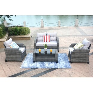 Mancha 4 Piece Rattan Sofa Seating Group with Cushions