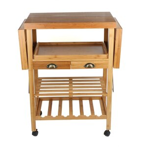 Desrochers Bamboo Expandable Wood Kitchen Cart