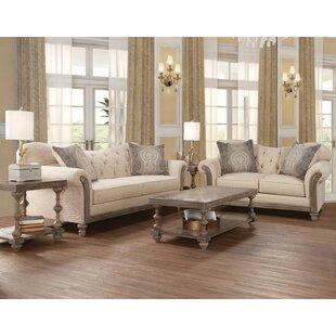 Ophelia & Co. Larrick Fabric Tufted Leather Living Room Set (Set of 2)