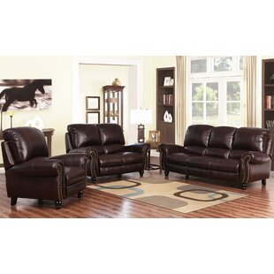 Darby Home Co Kahle Pushback Reclining 3 Piece Leather Living Room