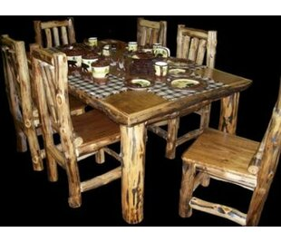 Amias Solid Wood Dining Table Millwood Pines