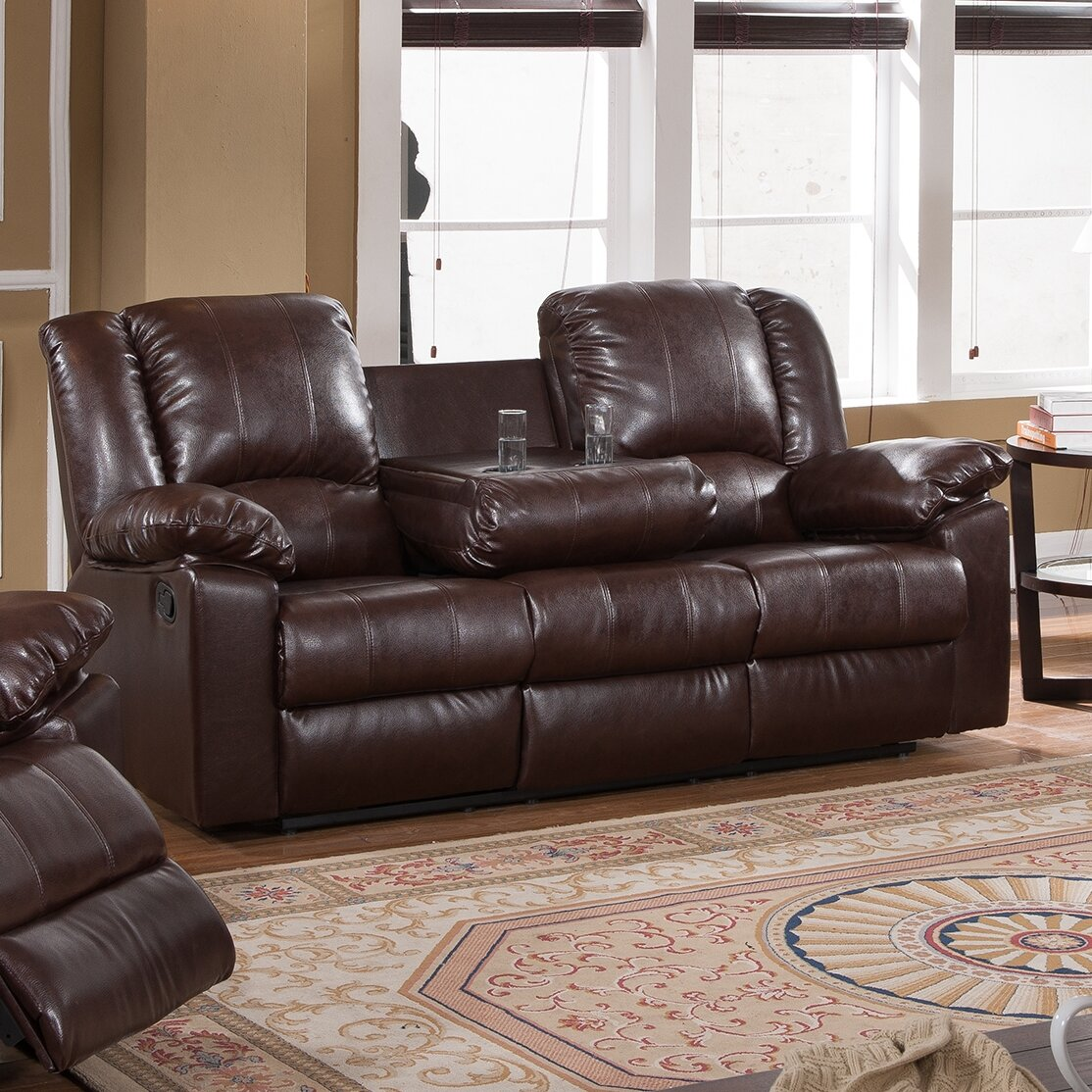 milton green star burgas reclining sofa with drop-down cup holder