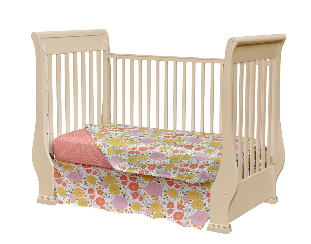 Desmarais Floral And Herringbone Baby 3 Piece Crib Bedding Set