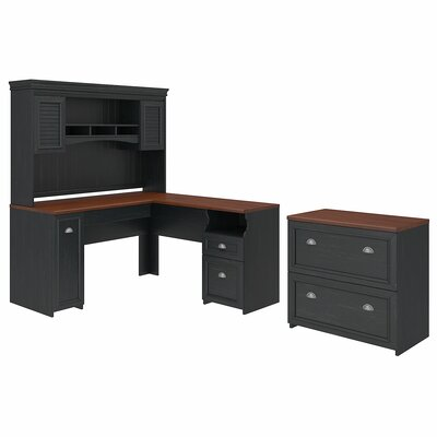 Oakridge 2 Piece Office Set with Hutch Color: Black by Beachcrest Home