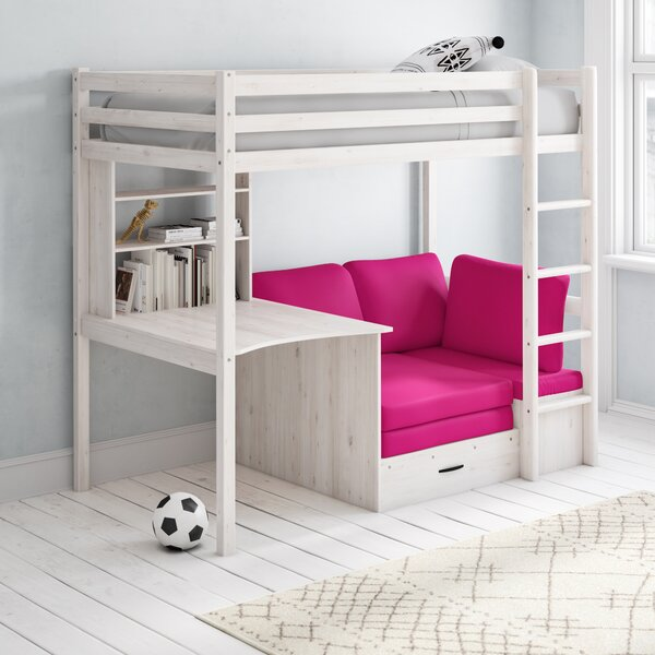 Isabelle & Max Cutler High Sleeper Bed with Shelf and Desk ...