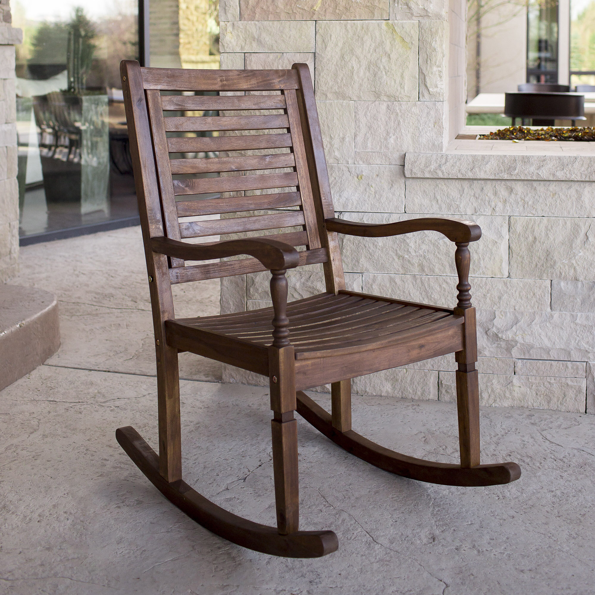 three posts zinnia solid acacia wood patio rocking chair reviews wayfair - Patio Rocking Chairs