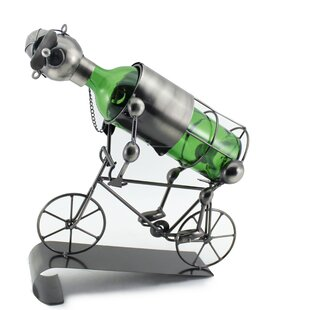 Stefany Happy Bicycle Rider Metal 1 Bottle Tabletop Wine Bottle Holder Design
