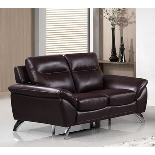 Richman Modern Leather Loveseat (Set of 3) by Orren Ellis