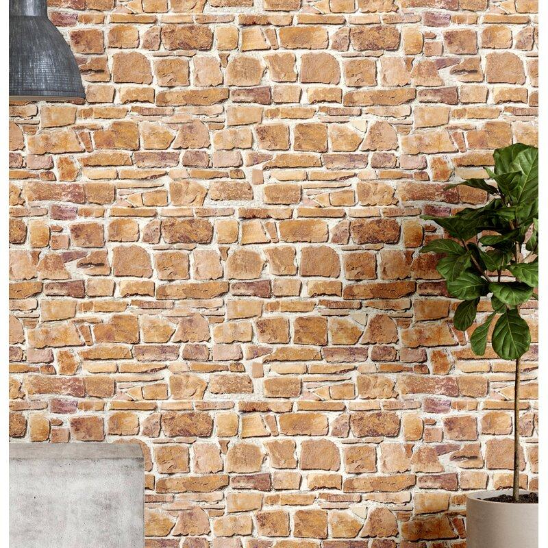 """Gudino 33' L x 20.5"""" W Brick Wallpaper Roll"""