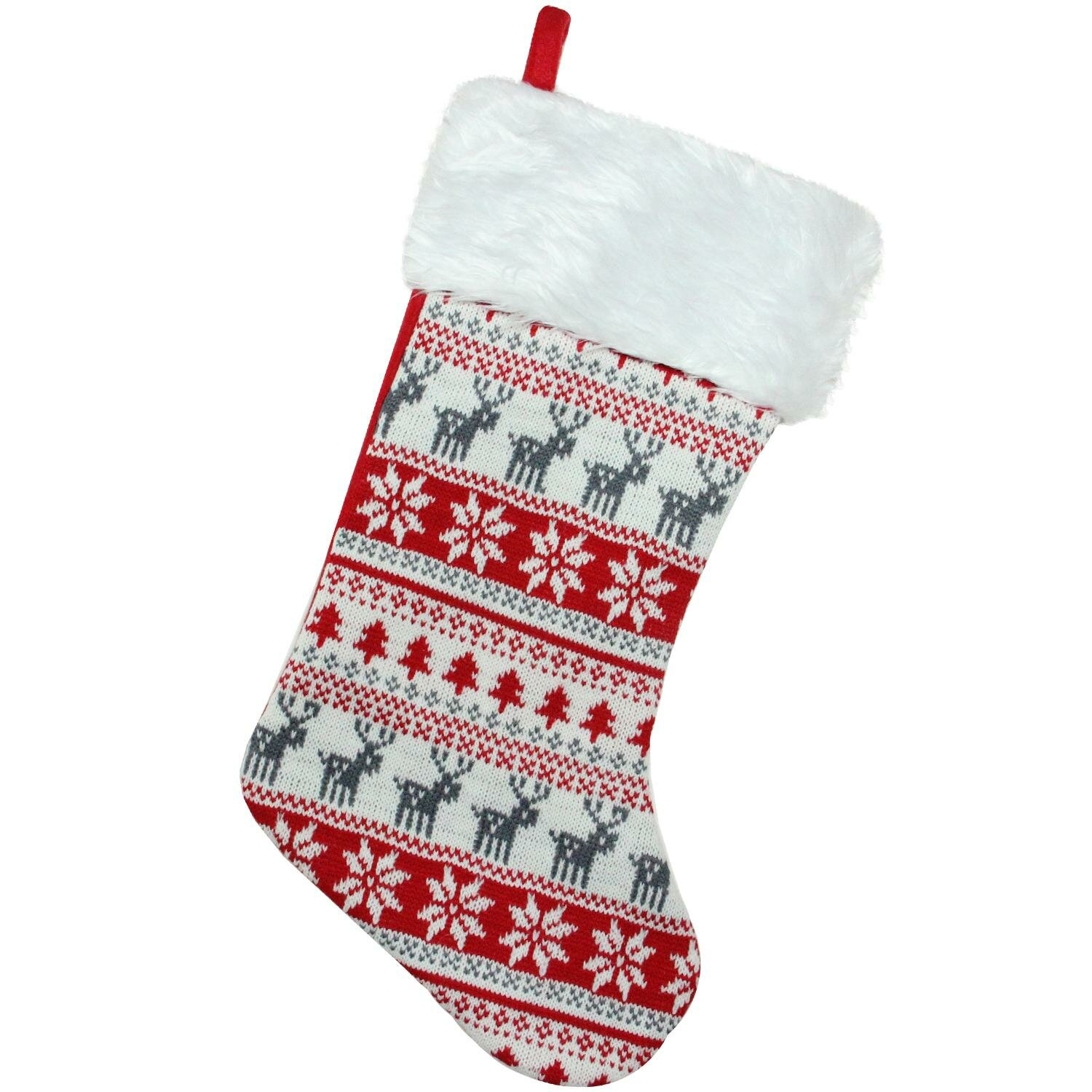 The Holiday Aisle Tree, Deer and Snowflake Knit Christmas Stocking ...