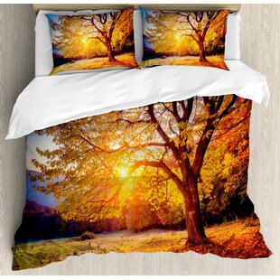 Big Majestic Autumn Tree Shedding Faded Leaves on Hill Slop Season Landscape Duvet Set by Ambesonne