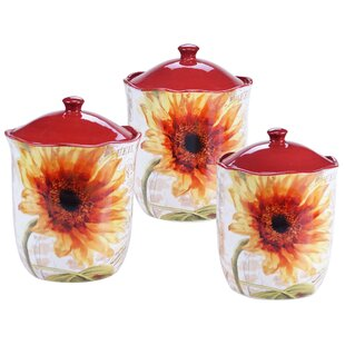 Inexpensive Paris Sunflower 3-Piece Storage Jar Set By Certified International