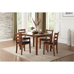 Gael Transitional Dinette 5 Piece Solid Wood Dining Set