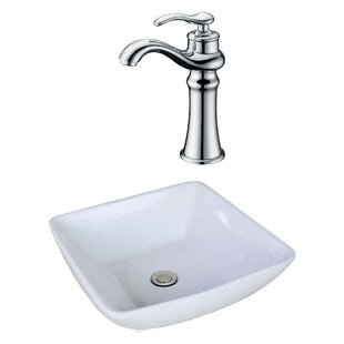 Royal Purple Bath Kitchen Ceramic Square Vessel Bathroom Sink with Faucet