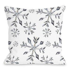 Silver Snowflake Throw Pillow